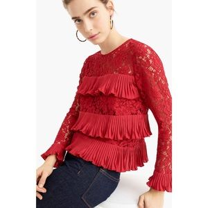 J. Crew Pleated Lace Top Festival Red Size 10